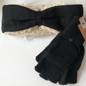 BearPaw ear warmer headband and pop top mittens